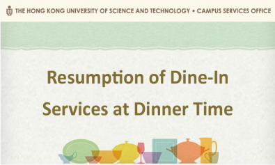 Resumption of Dine-In Services at Dinner Time