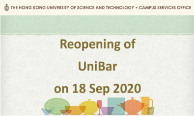 Reopening of UniBar on 18 Sep 2020