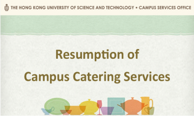 Resumption of Campus Catering Services