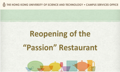 "Reopening of the ""Passion"" Restaurant on 3 Nov 2020"